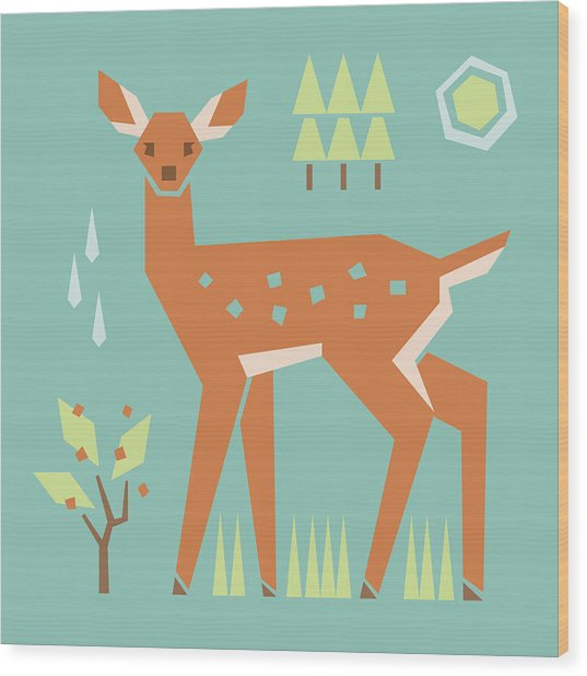 Fawn In The Meadow Wood Print