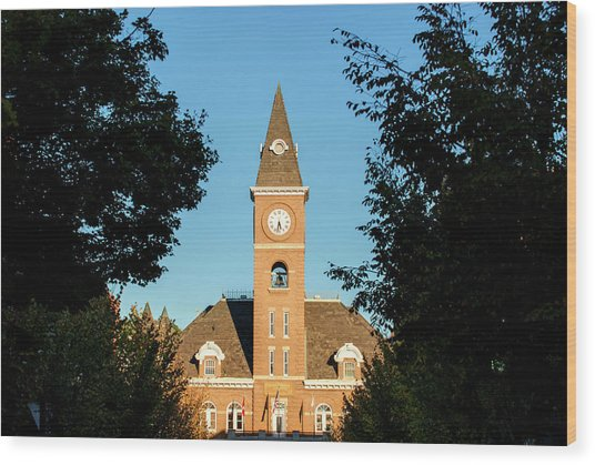 Fayetteville Arkansas Downtown Courthouse At Sunset Wood Print