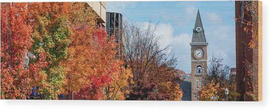 Fayetteville Arkansas Fall Color Cityscape Panorama Wood Print