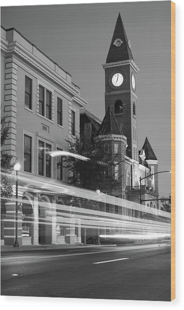 Fayetteville Arkansas Skyline At Night In Black And White Wood Print