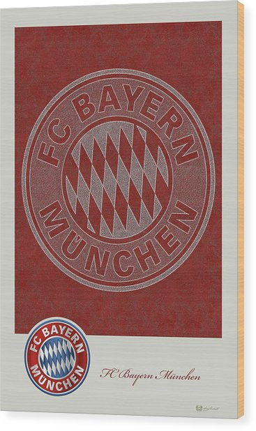 Fc Bayern Munich Logo And 3d Badge Wood Print