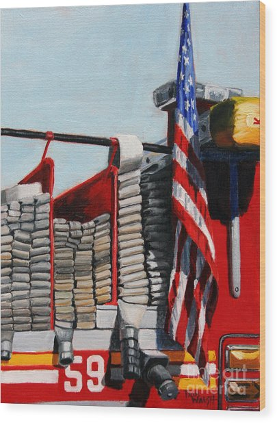 Fdny Engine 59 American Flag Wood Print