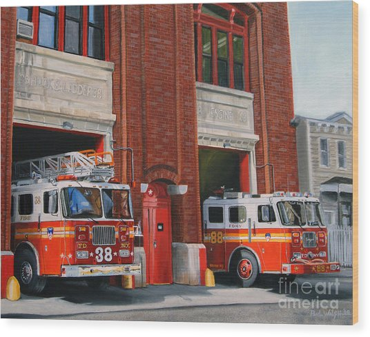 Fdny Engine 88 And Ladder 38 Wood Print by Paul Walsh