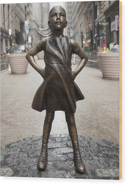 Fearless Girl 2 Wood Print