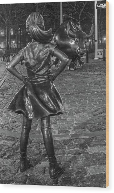 Fearless Girl And Charging Bull Nyc Wood Print