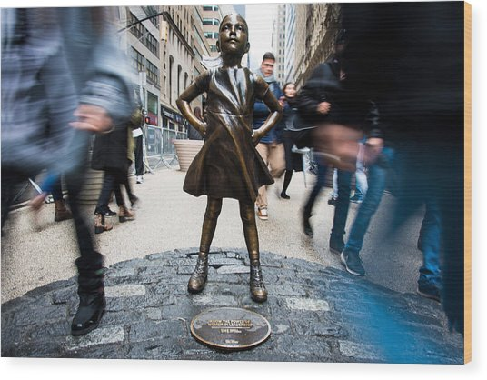 Fearless Girl Wood Print