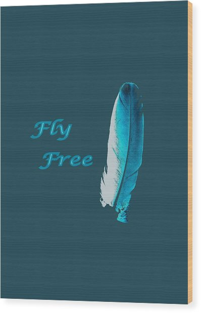 Feather Of Free Flight Wood Print