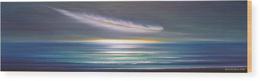 Feather Panoramic Sunset Wood Print