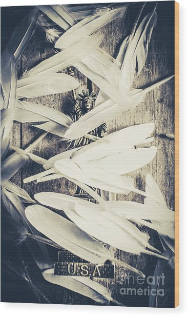 Feathers Of Freedom And The Statue Of Liberty Wood Print