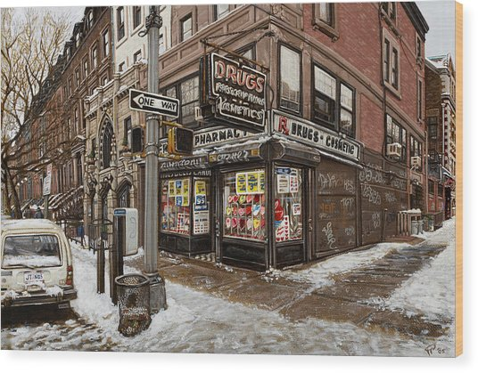 February Pharmacy Wood Print by Ted Papoulas