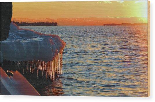 Feburary Sunset Cape Vincent Wood Print