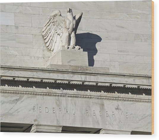 Federal Reserve Eagle Detail Washington Dc Wood Print by Brendan Reals