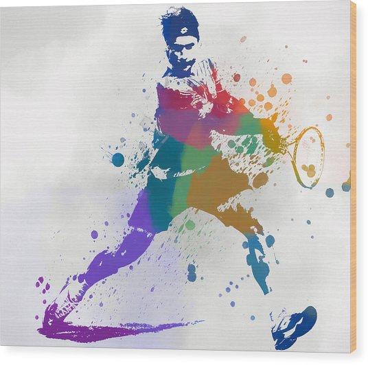 Federer Paint Splatter Wood Print