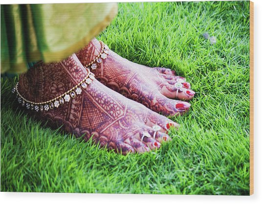 Feet With Mehndi On Grass Wood Print by Athul Krishnan (www.athul.in)