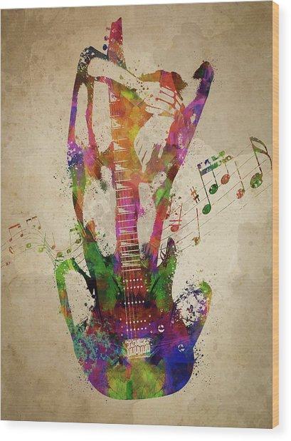 Female Guitarist Wood Print