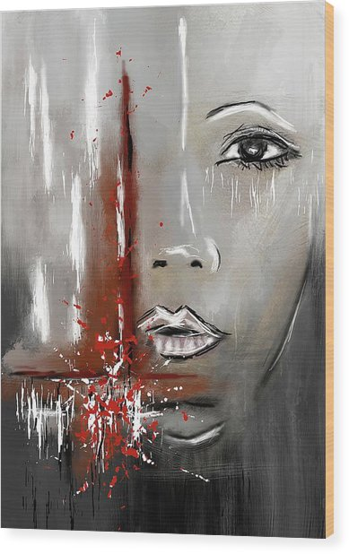 Female Half Face On Grey Abstract Wood Print