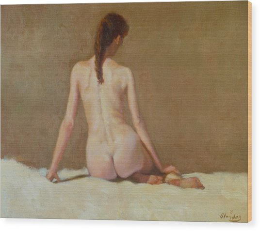 Female Nude   Back View      Wood Print by David Olander