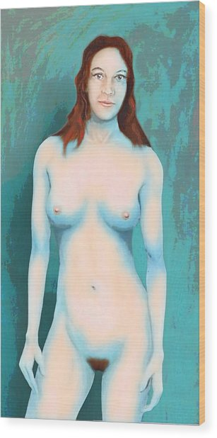 Female Nude Blue With Red Hair Wood Print