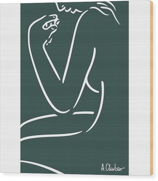 Female Nude Looking At A Wood Print by Alexander Chubar