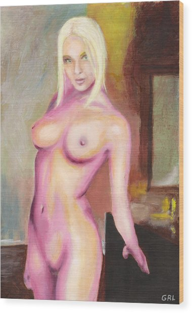 Female Nude Taxha Standing Original Multimedia Acrylic Oil Painting Wood Print by G Linsenmayer