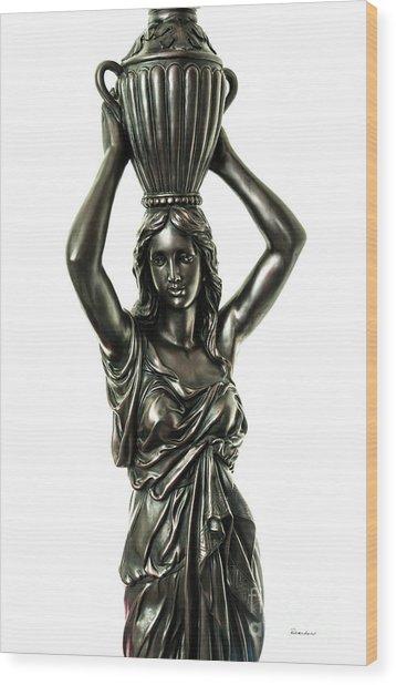 Female Water Goddess Bronze Statue 3288a Wood Print