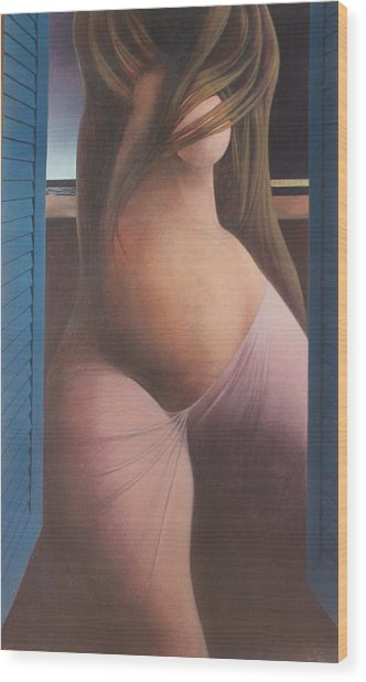 Femme Aux Volets Wood Print by James LeGros