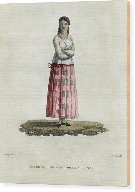 Femme De L Ile Guam Josephe Cortez Wood Print