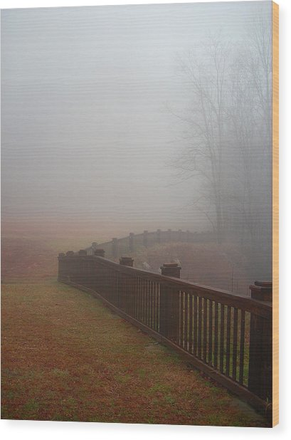 Fence And Fog Wood Print by Beebe  Barksdale-Bruner