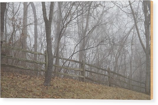 Fence And Fog Wood Print