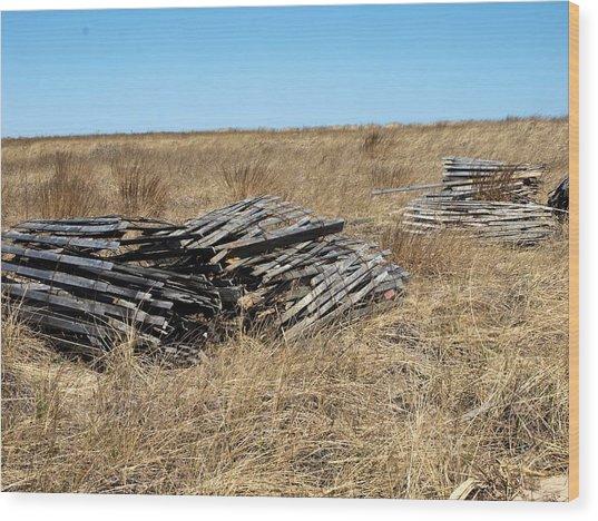 Fence Bails Wood Print