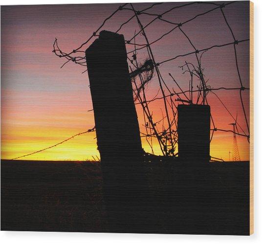 Fence Sunrise Wood Print