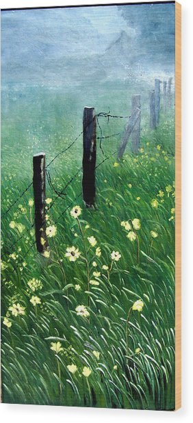 Fence With A Ghost House Wood Print by Robert Thomaston
