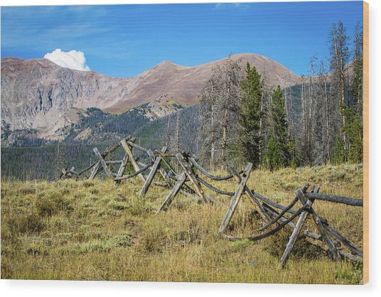 Fences Into The Rockies Wood Print