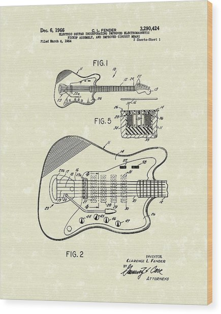 Fender Guitar 1966 Patent Art Wood Print