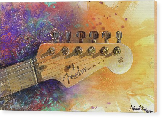Fender Head Wood Print
