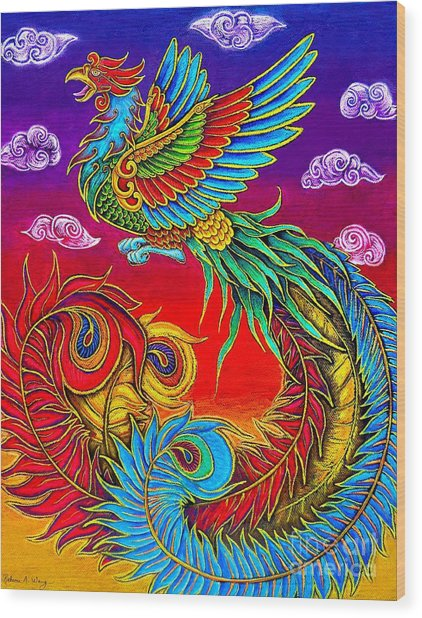 Fenghuang Chinese Phoenix Wood Print