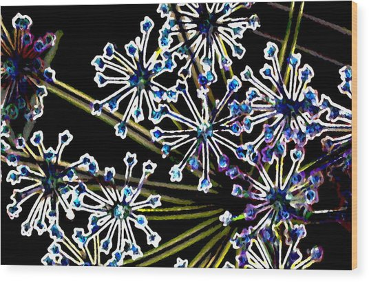 Fennel Inflorescence In Neon 2 Wood Print