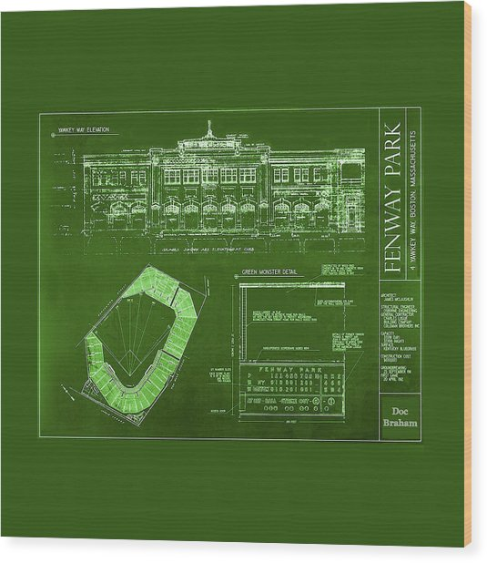 Fenway Park Blueprints Home Of Baseball Team Boston Red Sox Wood Print