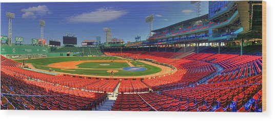 Fenway Park Interior Panoramic - Boston Wood Print
