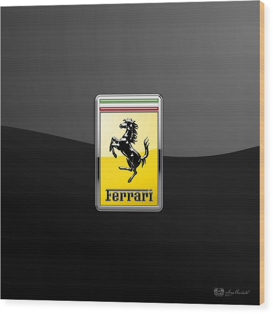 Ferrari 3d Badge- Hood Ornament On Black Wood Print
