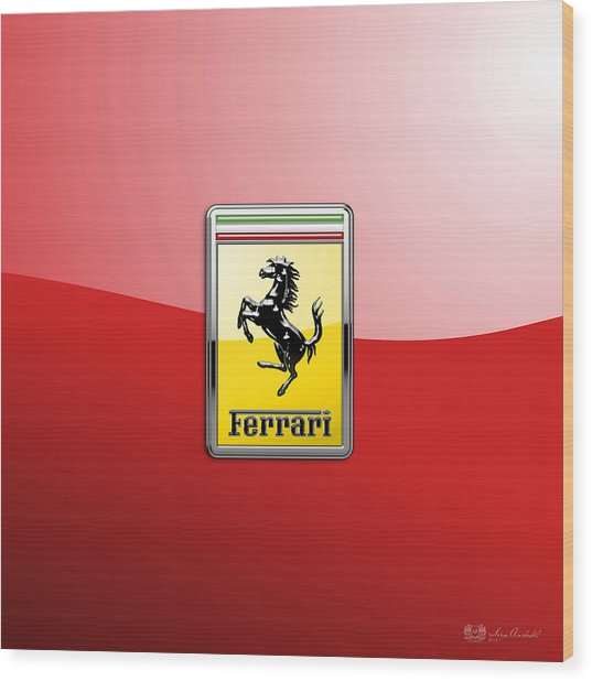 Ferrari 3d Badge-hood Ornament On Red Wood Print