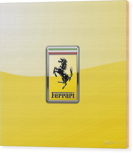 Ferrari 3d Badge- Hood Ornament On Yellow Wood Print