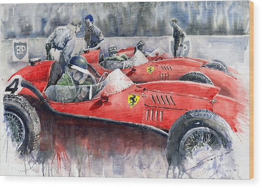 Ferrari Dino 246 F1 1958 Mike Hawthorn French Gp  Wood Print