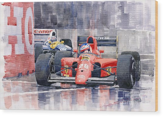1991 Ferrari F1 Jean Alesi Phoenix Us Gp Arizona 1991 Wood Print