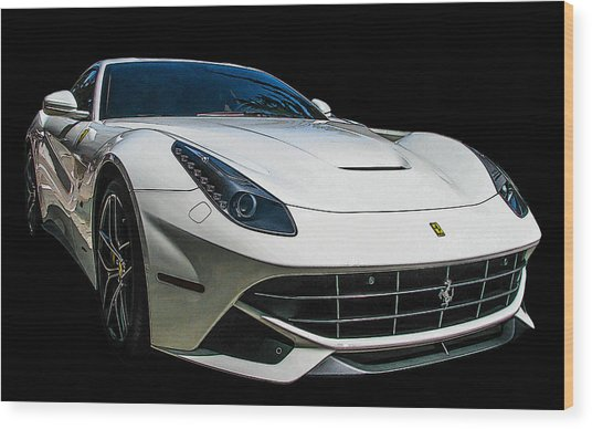Ferrari F12 Berlinetta In White Wood Print