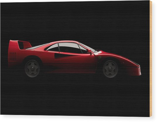 Ferrari F40 - Side View Wood Print