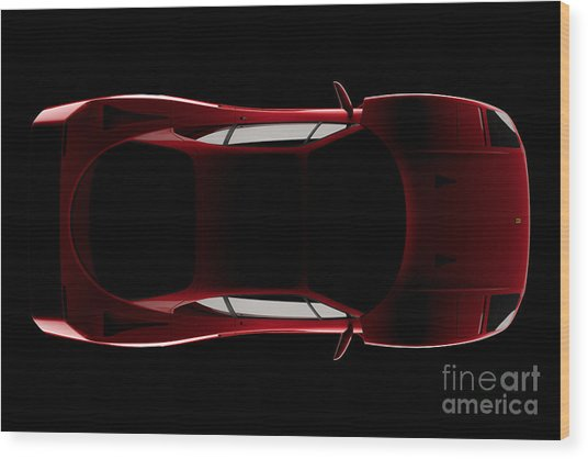 Ferrari F40 - Top View Wood Print