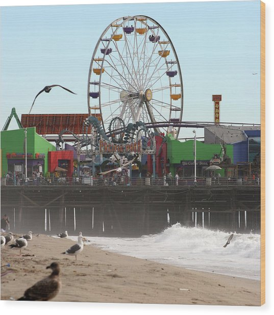 Ferris Wheel At Santa Monica Pier Wood Print