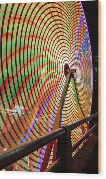 Ferris Wheel  Closeup Night Long Exposure Wood Print
