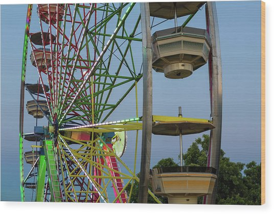 Ferris Wheel Lights At Dusk Closeup Wood Print
